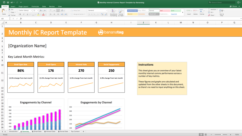 how to create a monthly internal comms report free excel