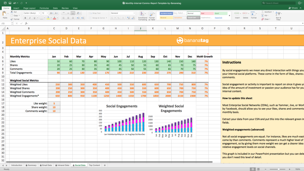 monthly internal comms reporting template by Bananatag enterprise social data
