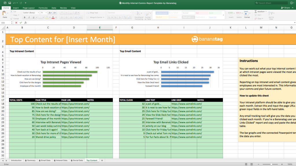 monthly internal comms reporting template by Bananatag top internal email and intranet content data