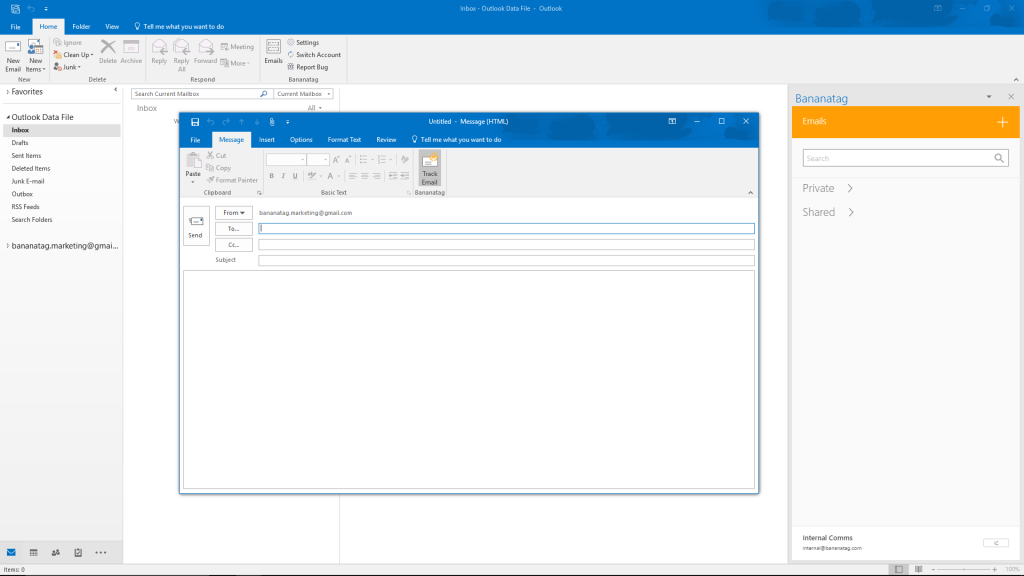 Track email function in Outlook for internal communications