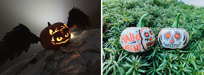 On the left, a carved pumpkin with wings, on the right two small painted pumpkins