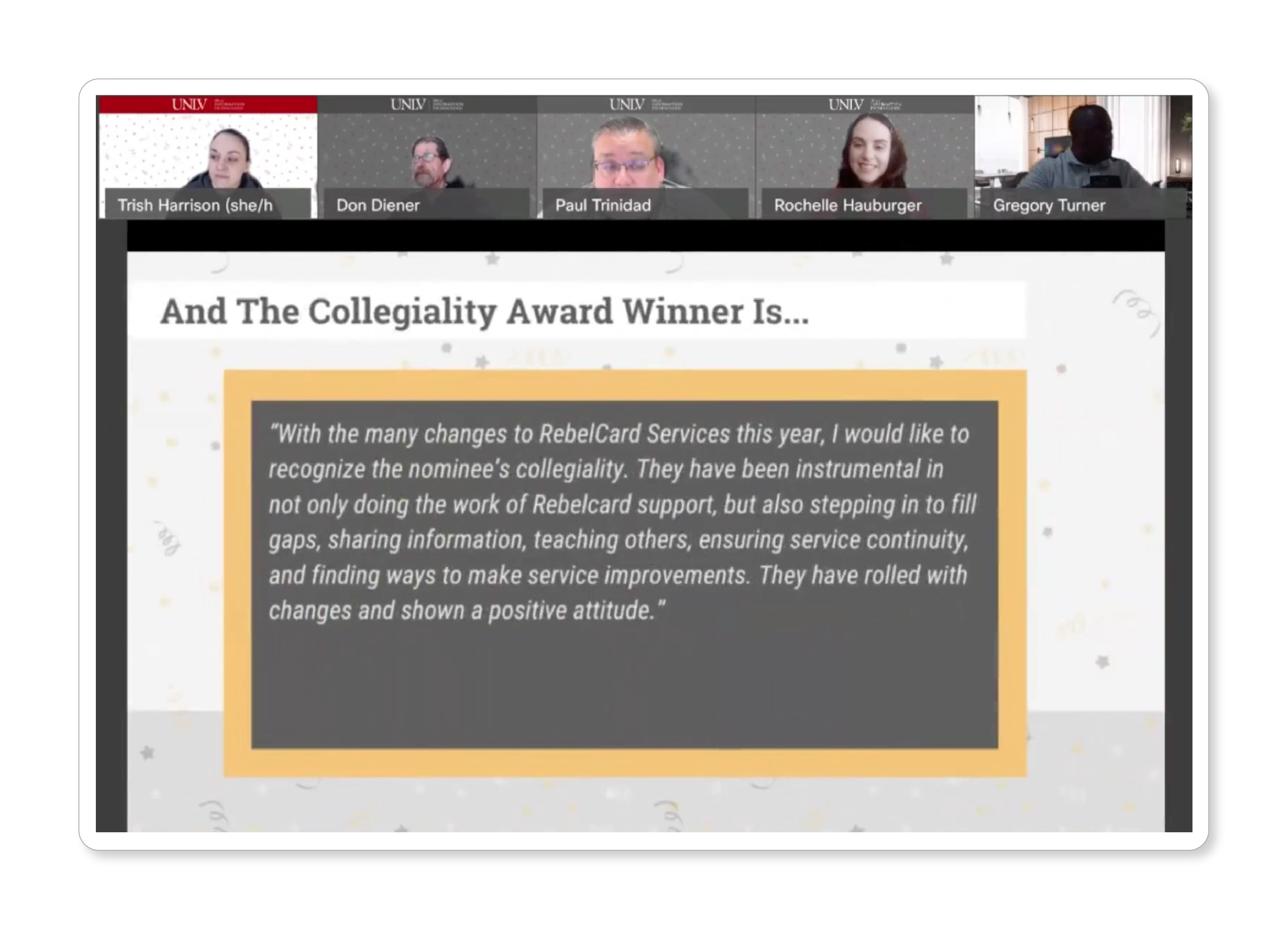 """Several people in a Zoom meeting looking at a presentation labeled """"And the Collegiality Award Winner Is... """""""
