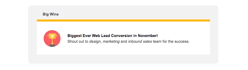 """A """"Big Wins"""" newsletter content block with an illustration of a trophy and the words """"Biggest Ever Web Conversion in November!"""""""