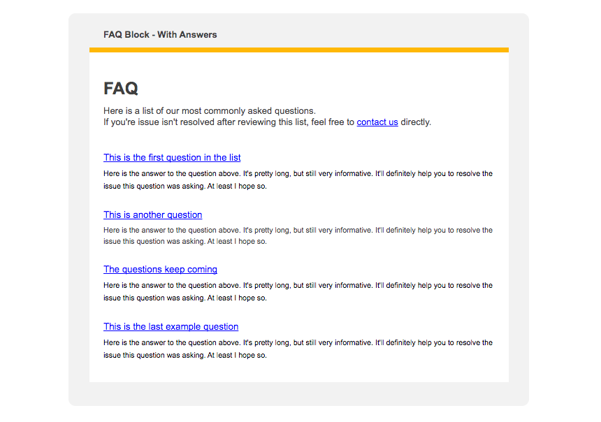 A newsletter content block featuring an FAQ, with placeholder text.