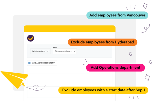 """Custom Distribution Lists in Bananatag, including """"Employees from Vancouver,"""" """"Operations department,"""" and """"Employees with a start date after Sep 1""""."""