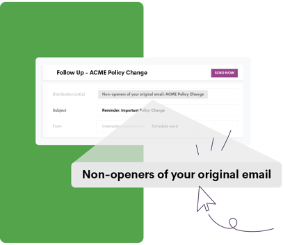 """Magnified text on a green and white background that says """"Non-openers of your original email"""""""